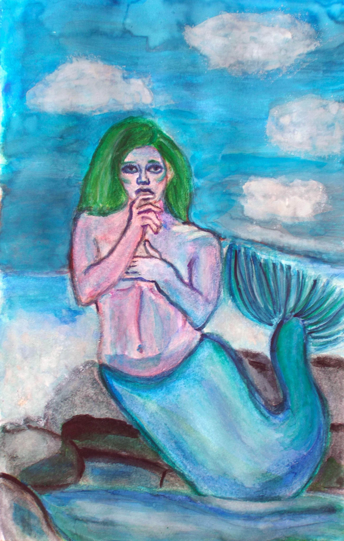 Watercolour illustration of a female mermaid