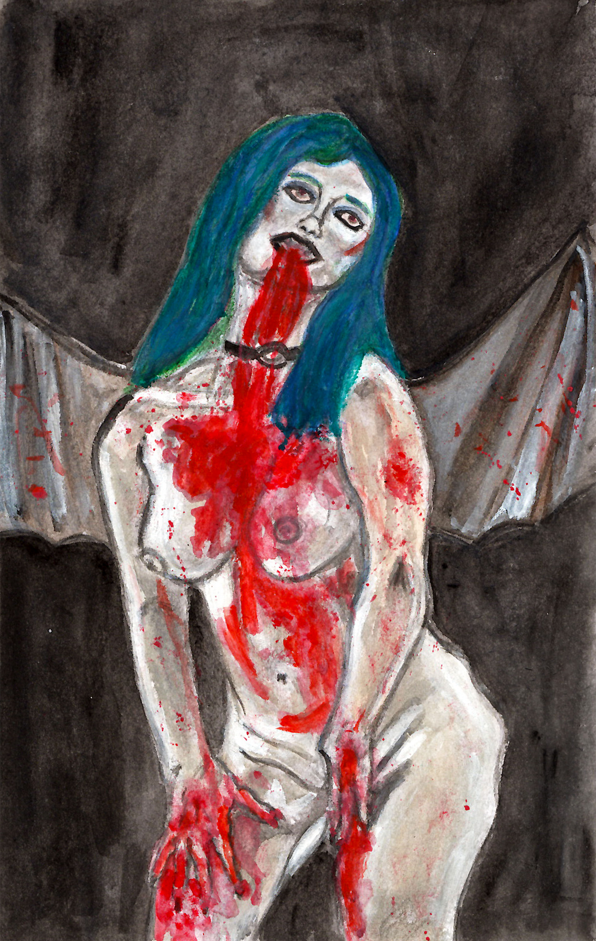 Succubus bathed in blood