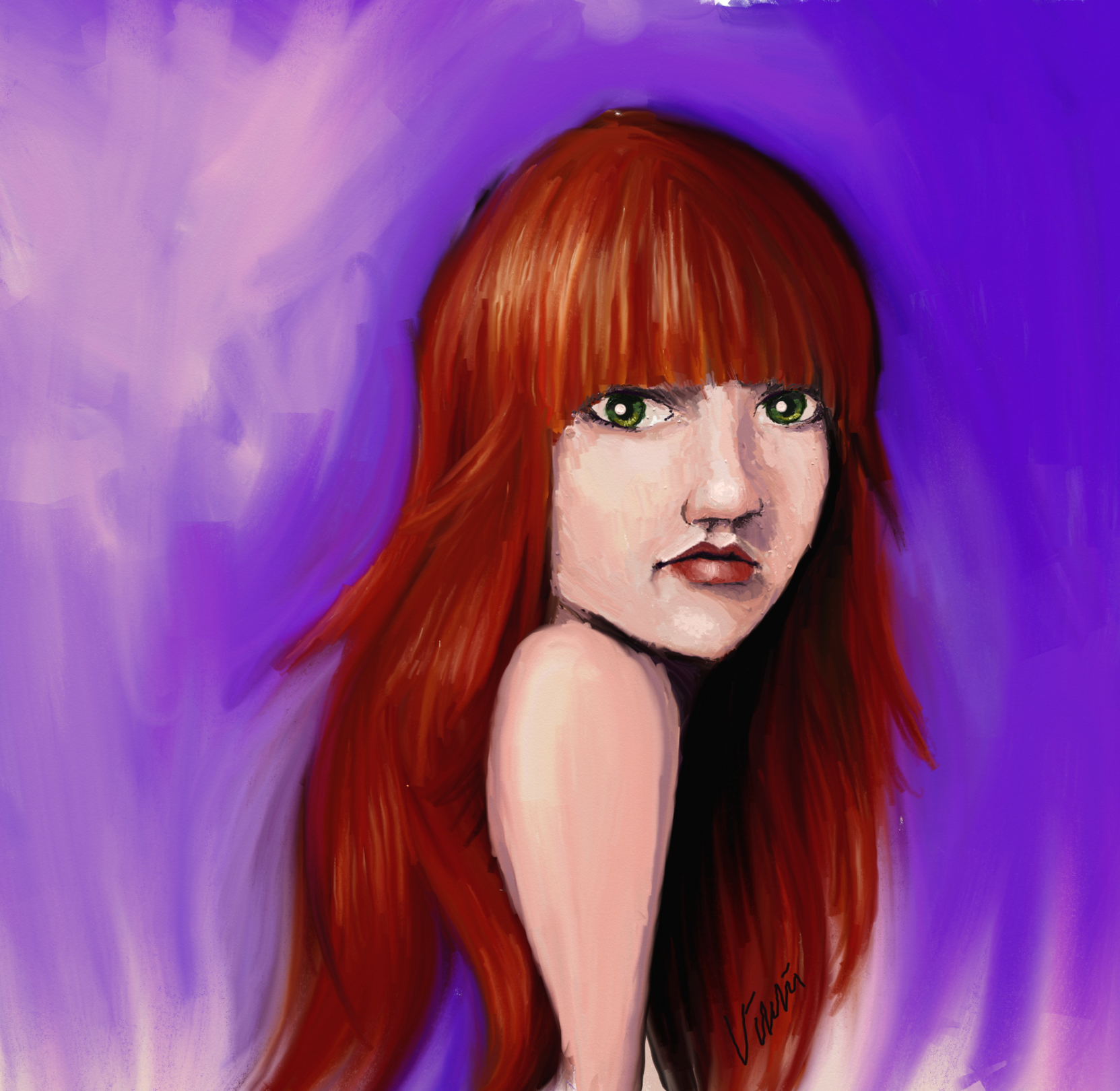 Red Head Girl with Digital Oil