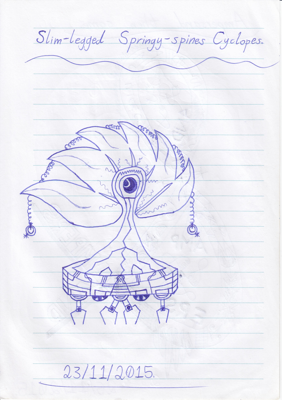Art #44 -- Slim-legged Springy-spines Cyclopes.