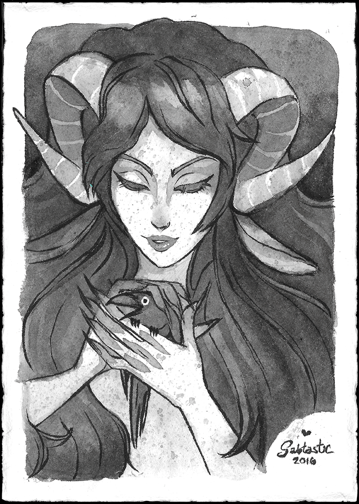 Faun Girl and Crow Friend - India Ink