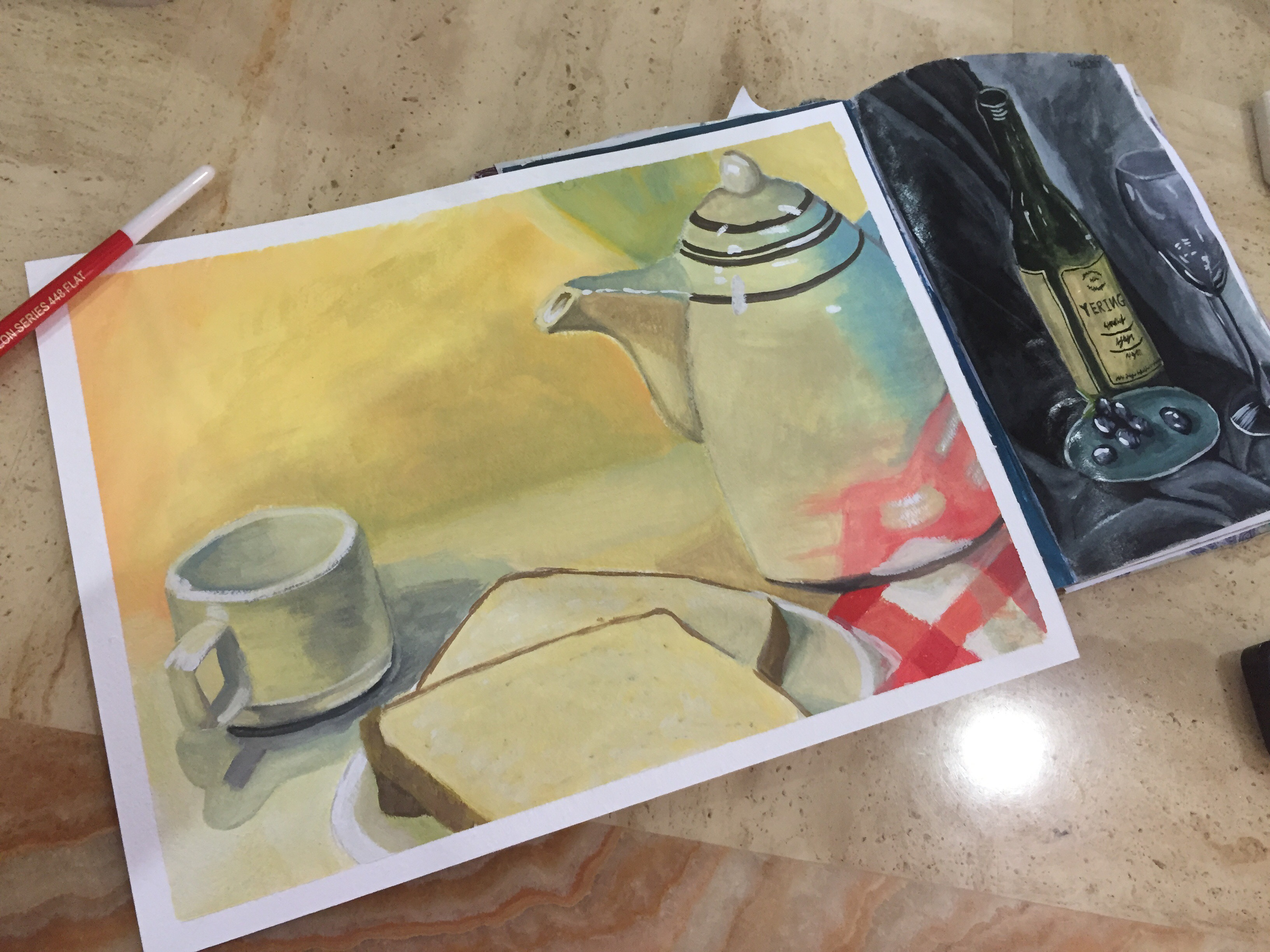 poster colour still life drawing (practice)