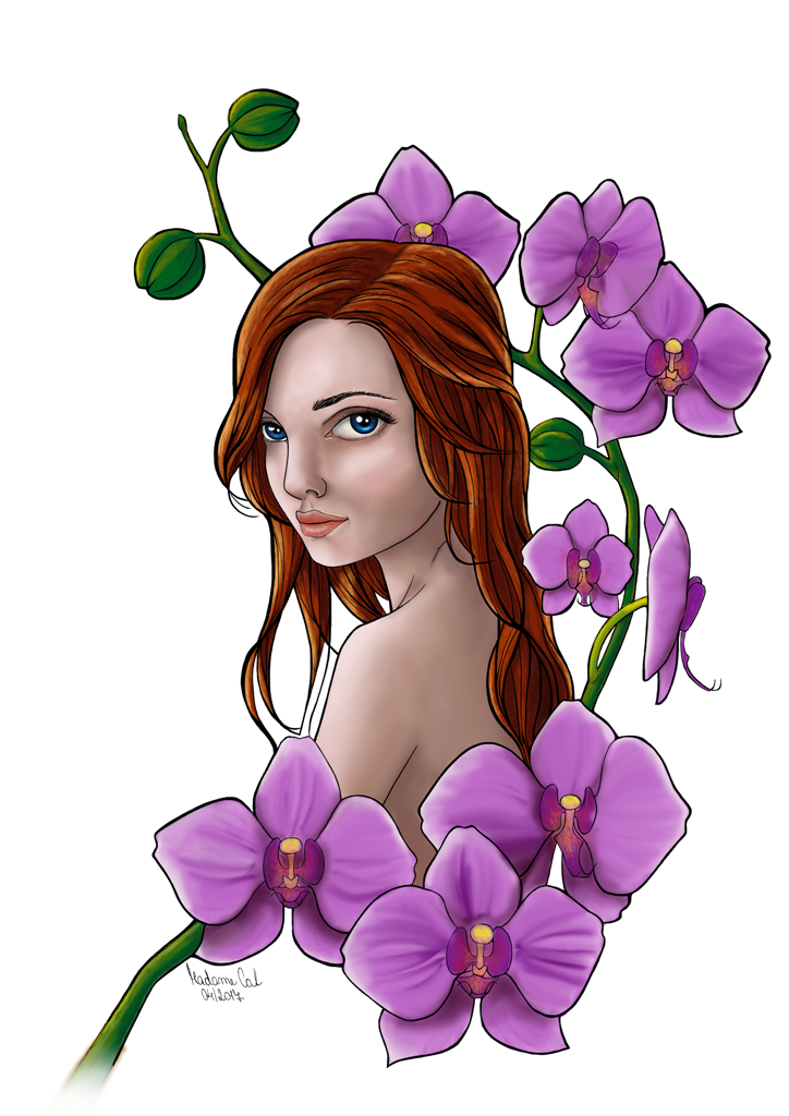 A girl in orchids