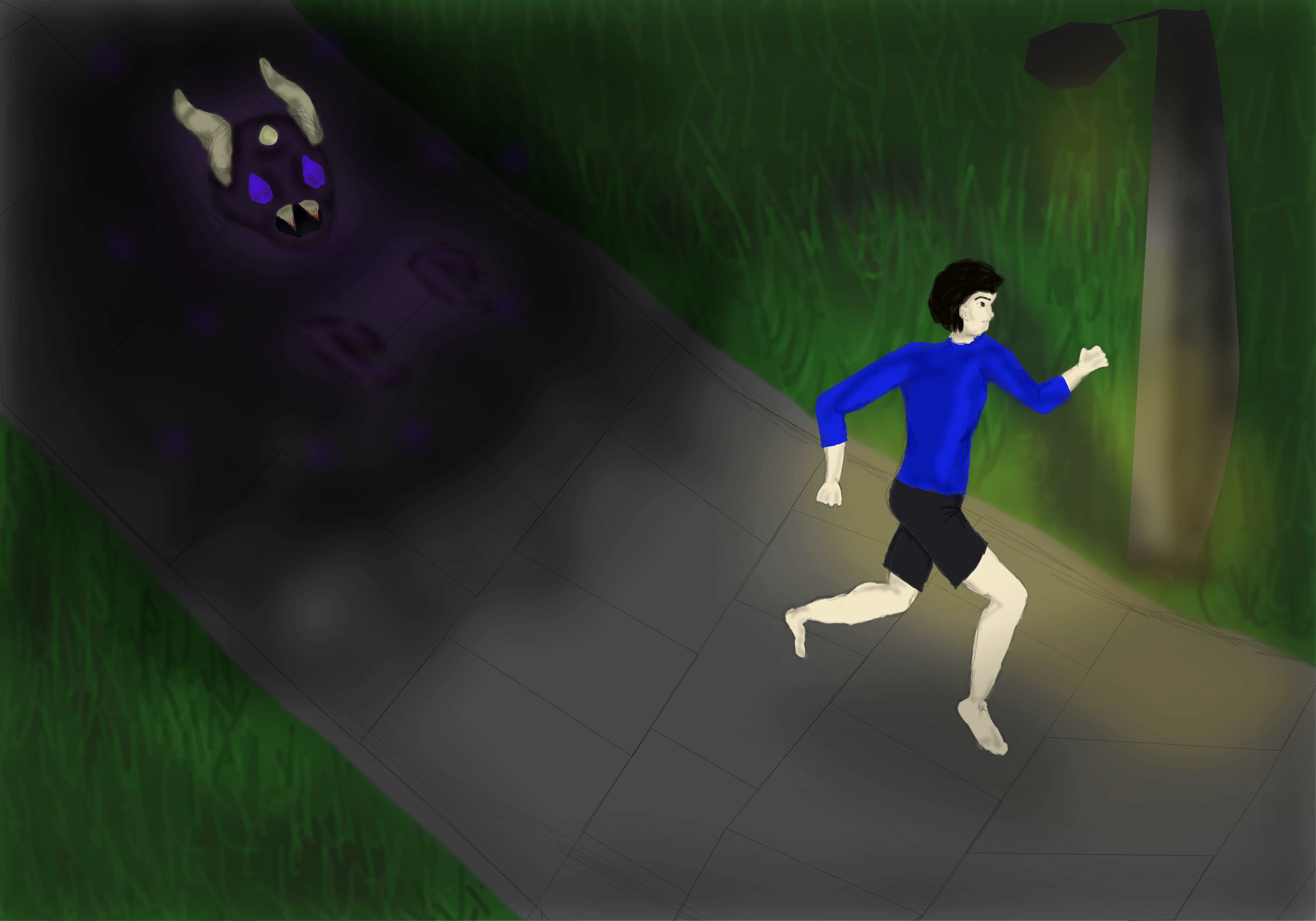 Man is running away from a demon