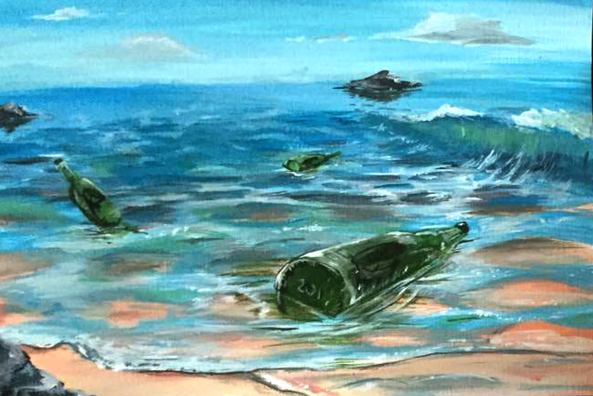 Bottles on the shore