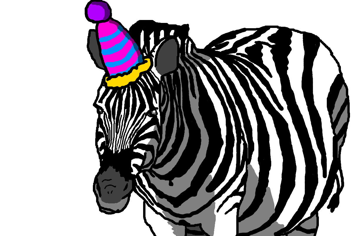Zebra with a Party Hat