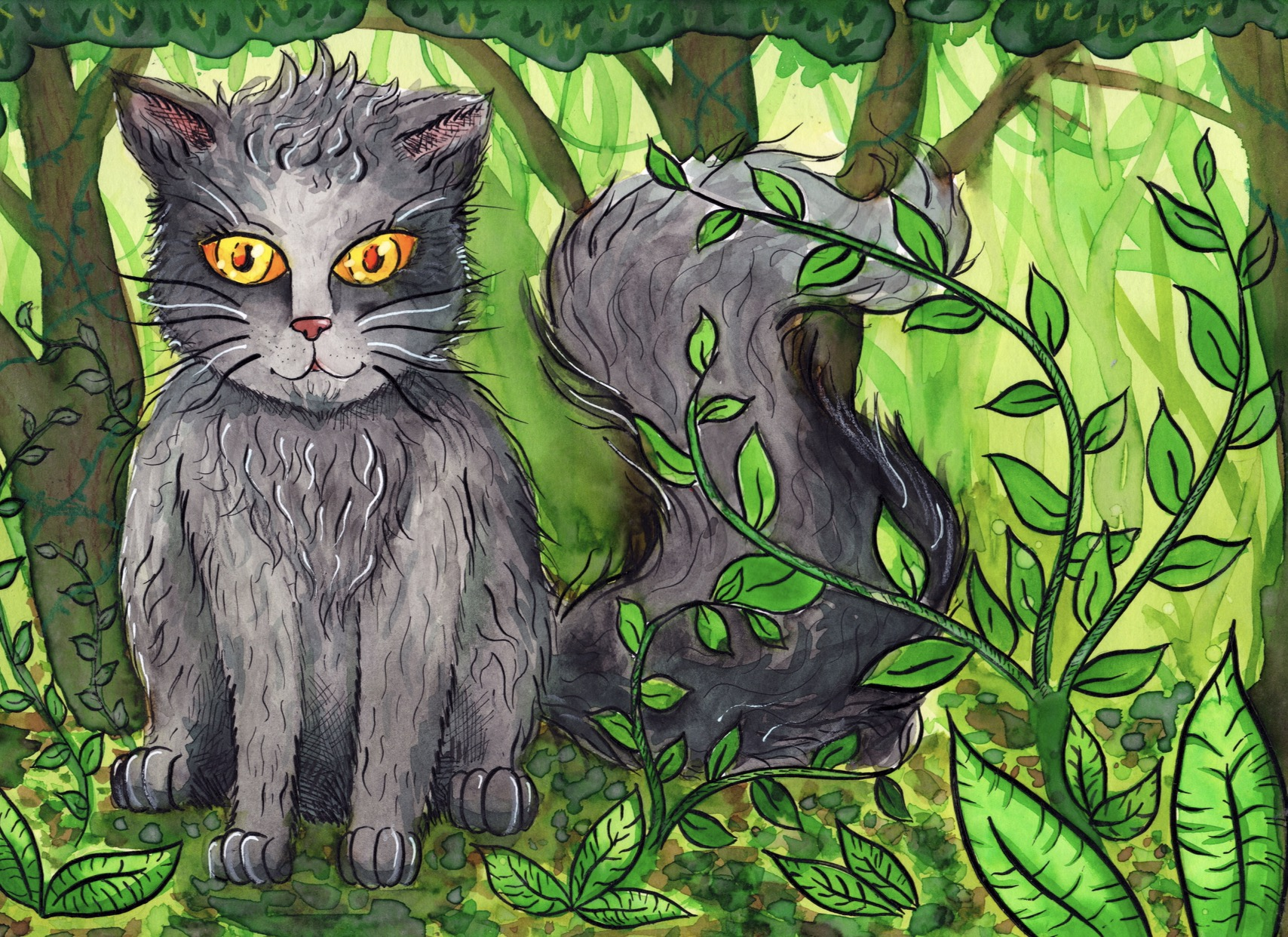 Forest Kitty - Watercolour Painting