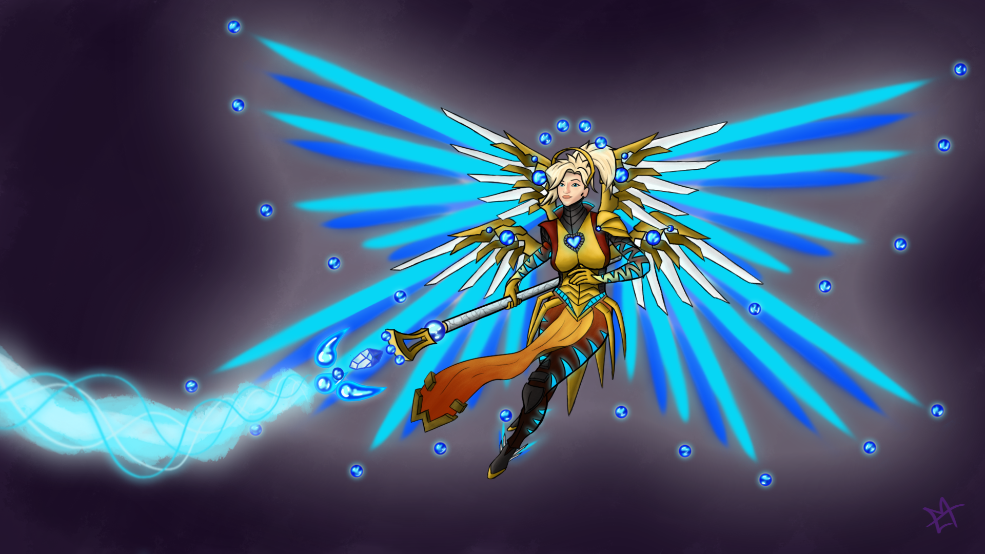 """Heroes will NEVER die!!... only level-up!"" Golden-Sphere Mercy Level 99"