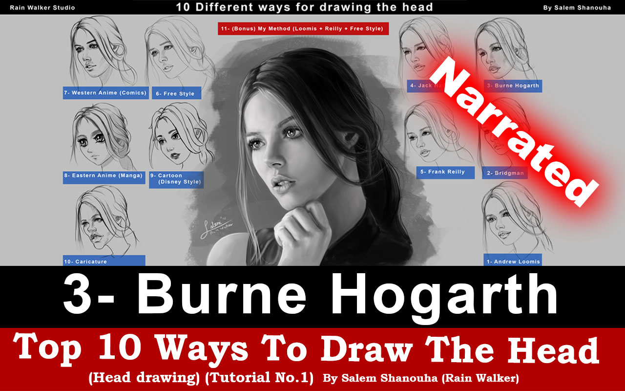 "Top 10 ways to draw the head [3- Burne Hogarth] ""Narrated"""