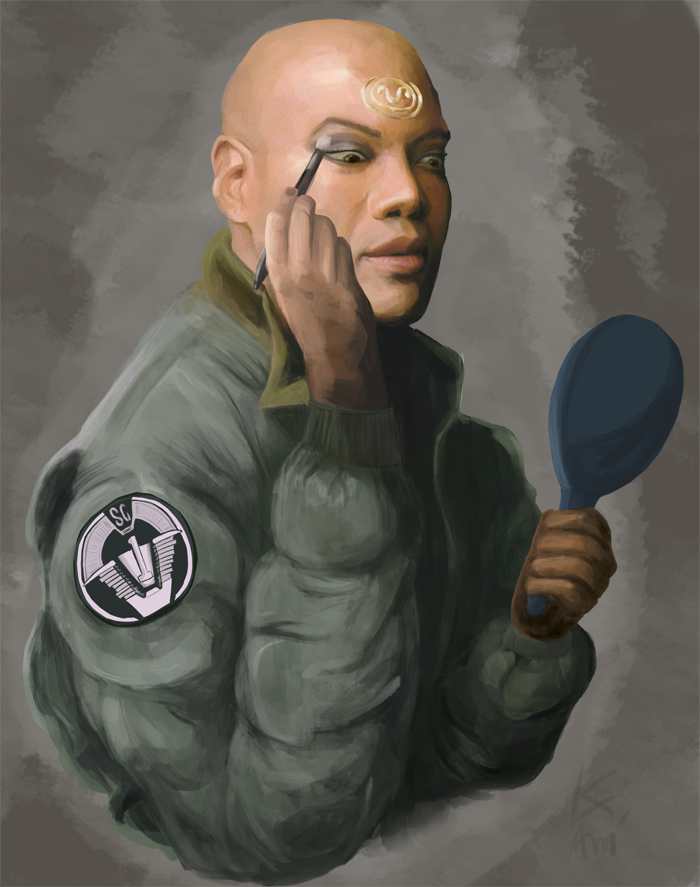 Teal'c putting his face on