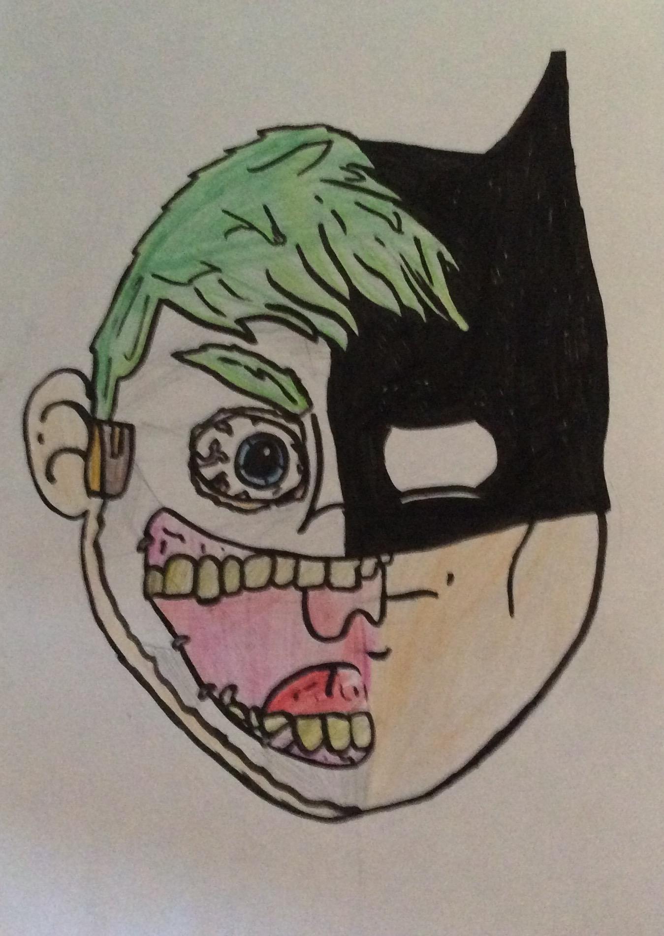 Joker and Batman face