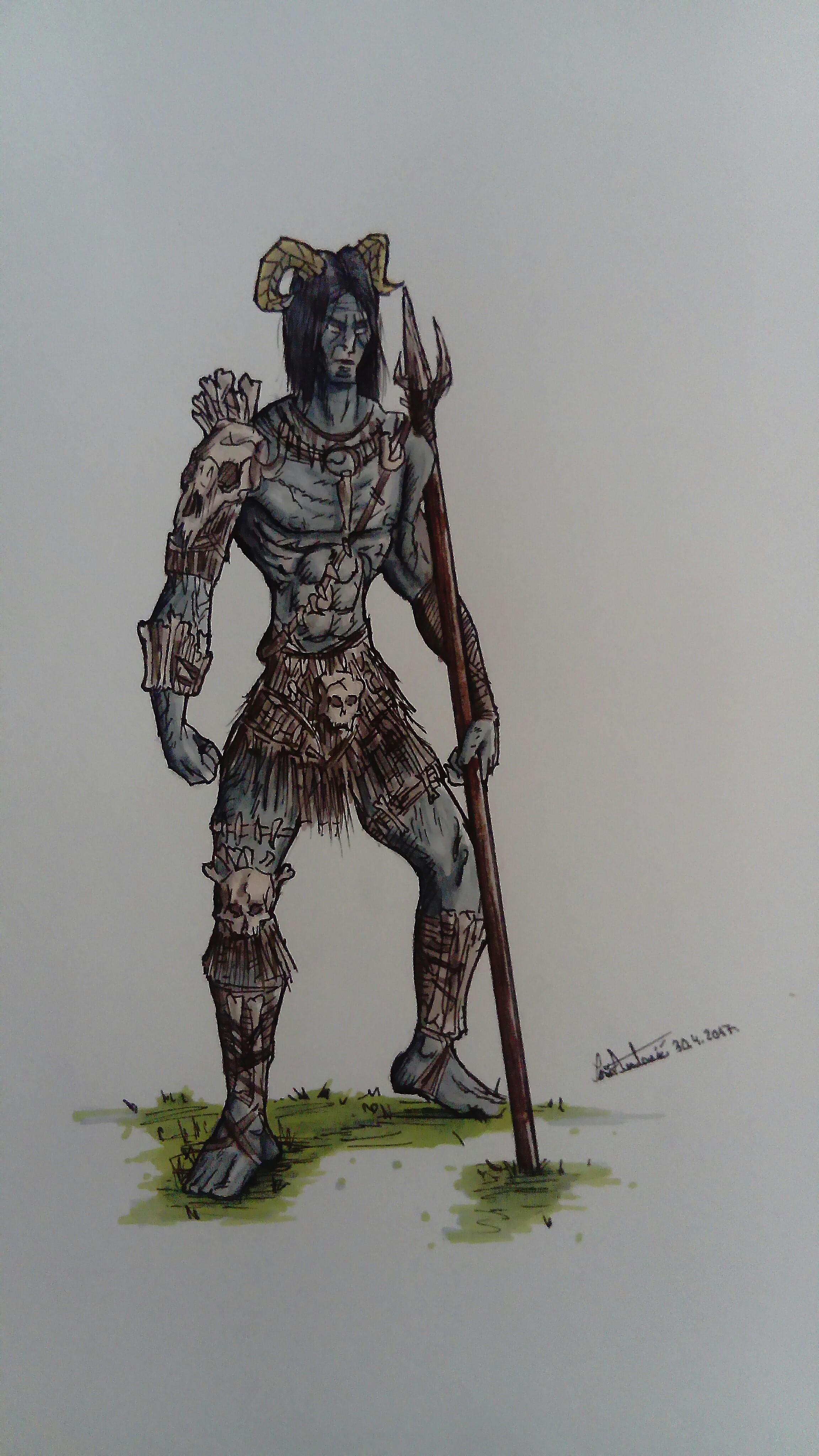 A tall humanoid with bone armor