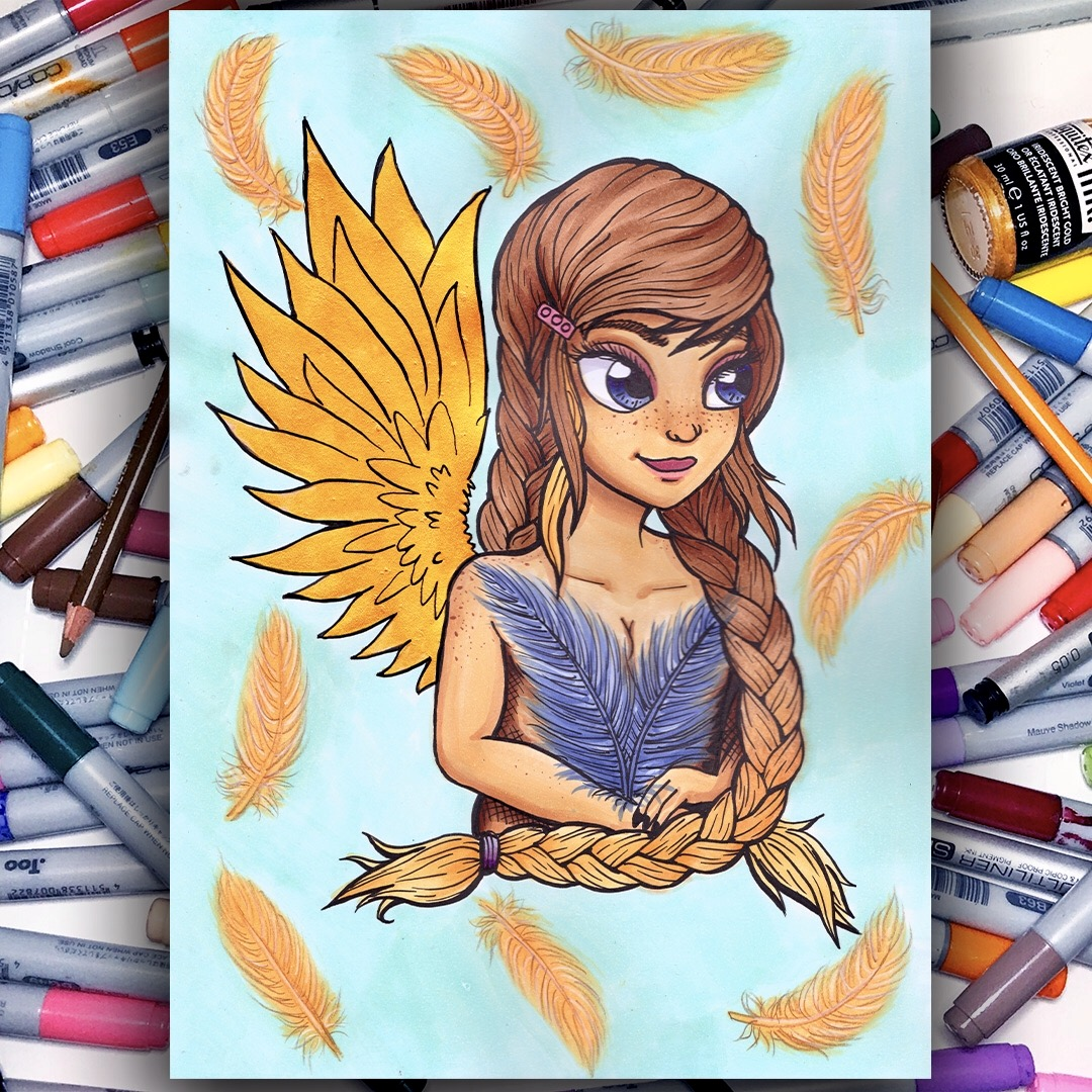 Feathery - Copic Marker Illustration