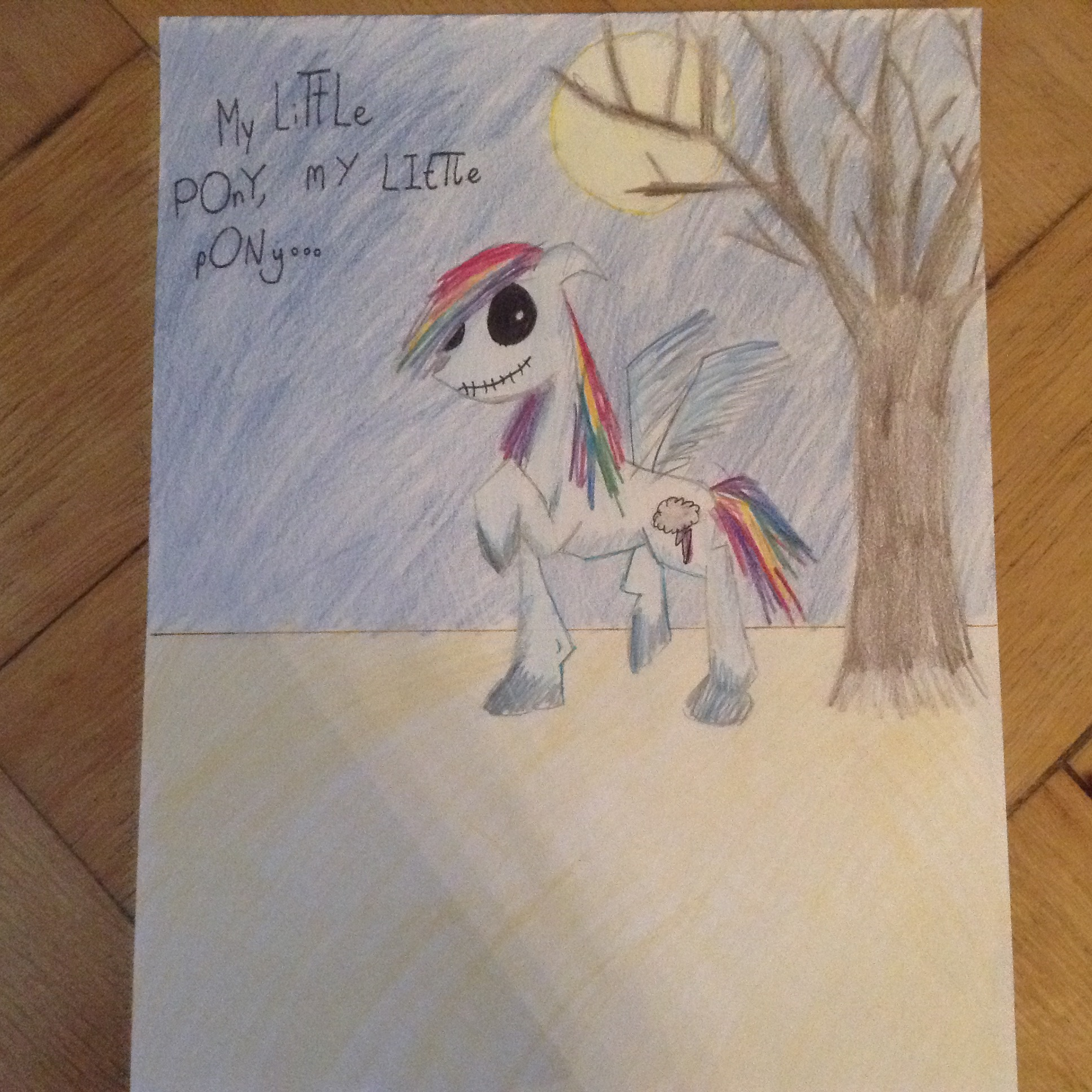 Rainbow Dash from My Little Pony in the style of Tim Burton