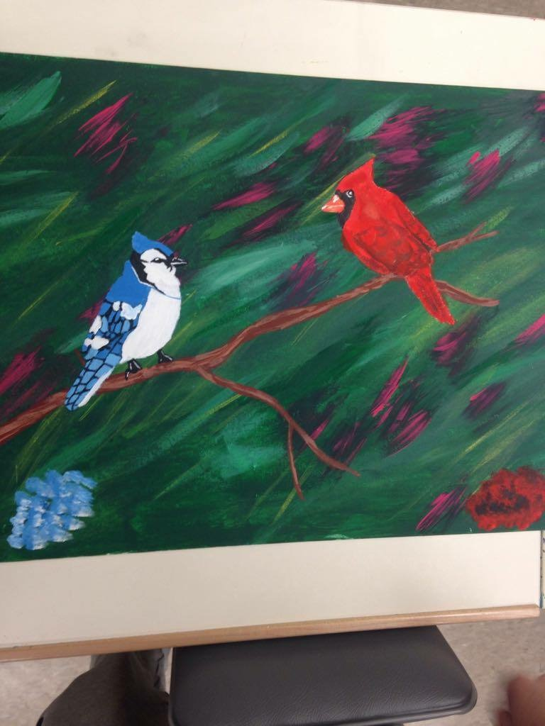 The blue Jay and the Cardinal