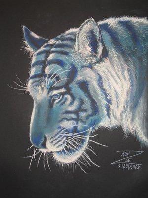 Blue Tiger Head Portrait