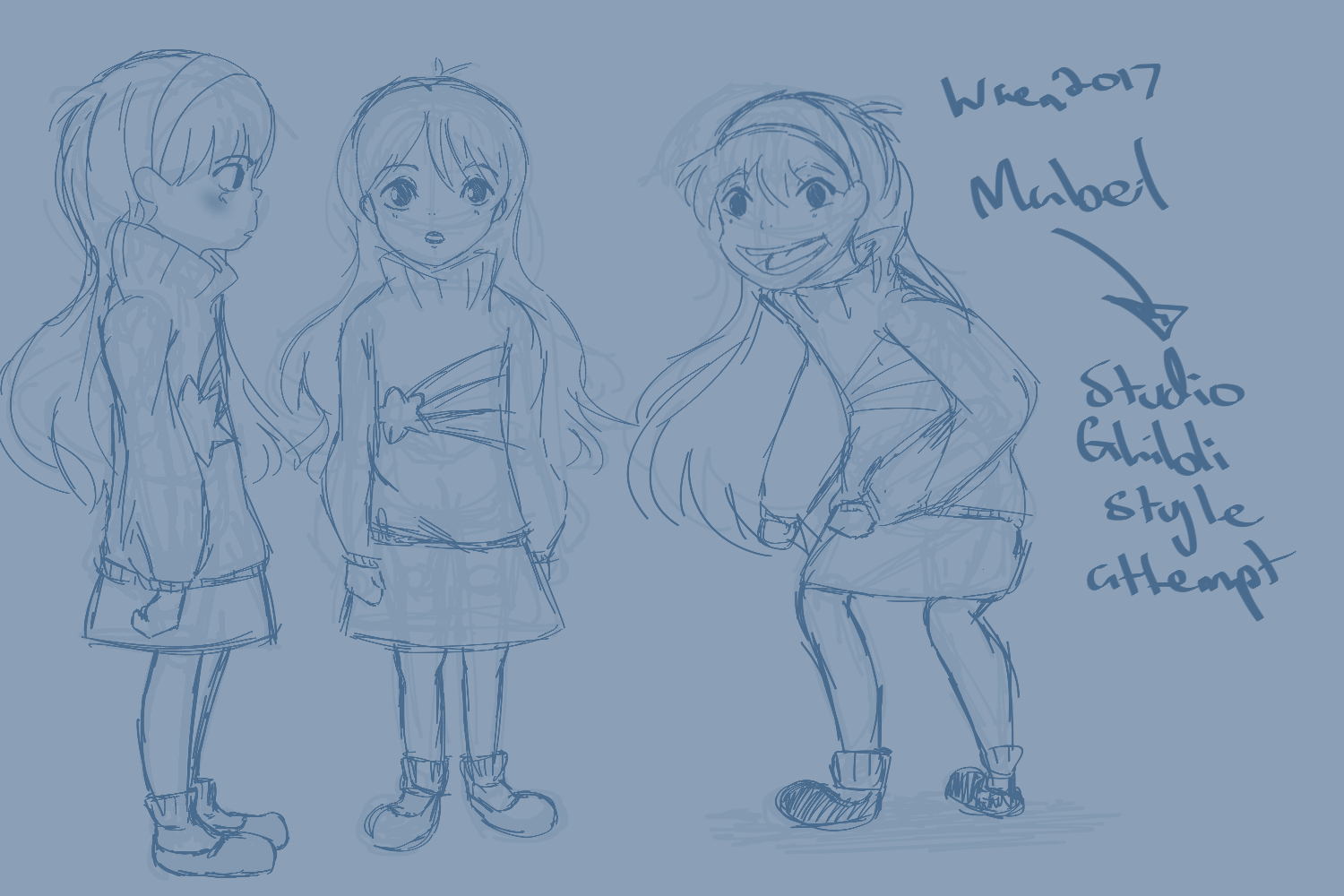 Sketches of Mabel in style of Studio Ghibli