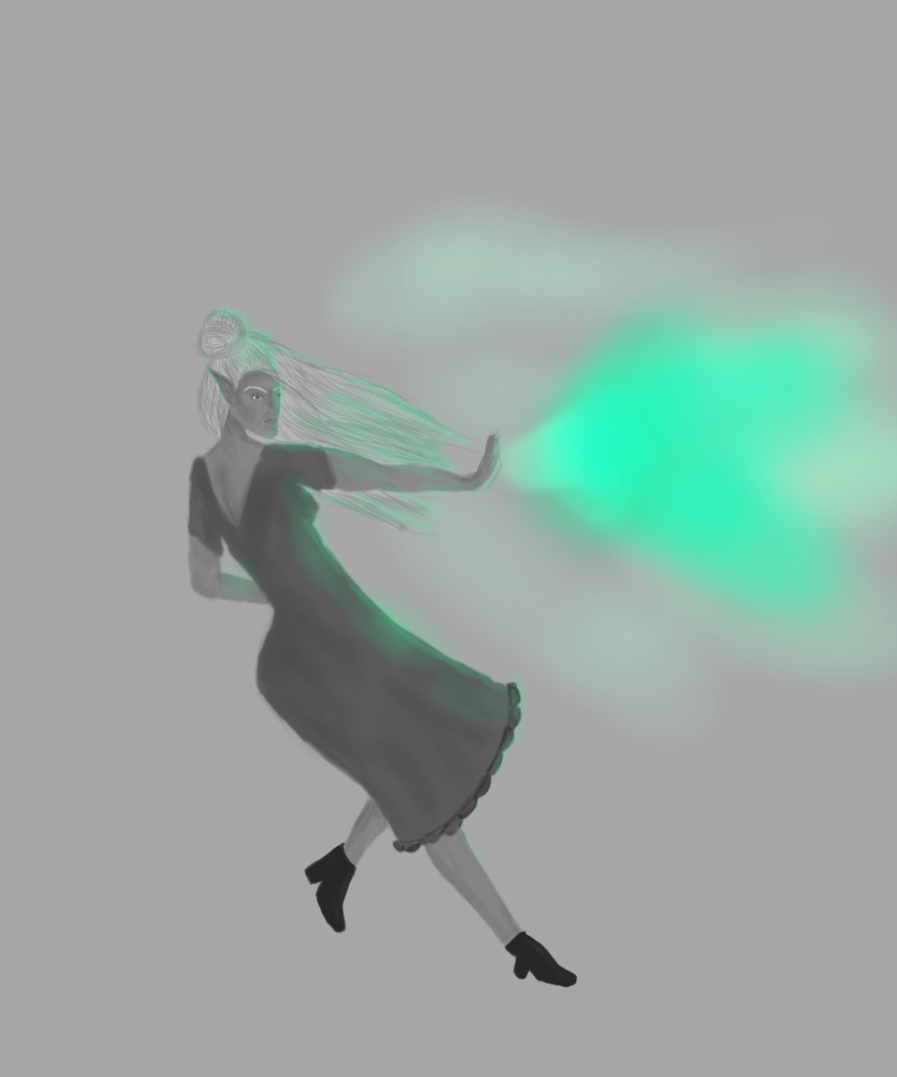 Girl with green fire / 06.17