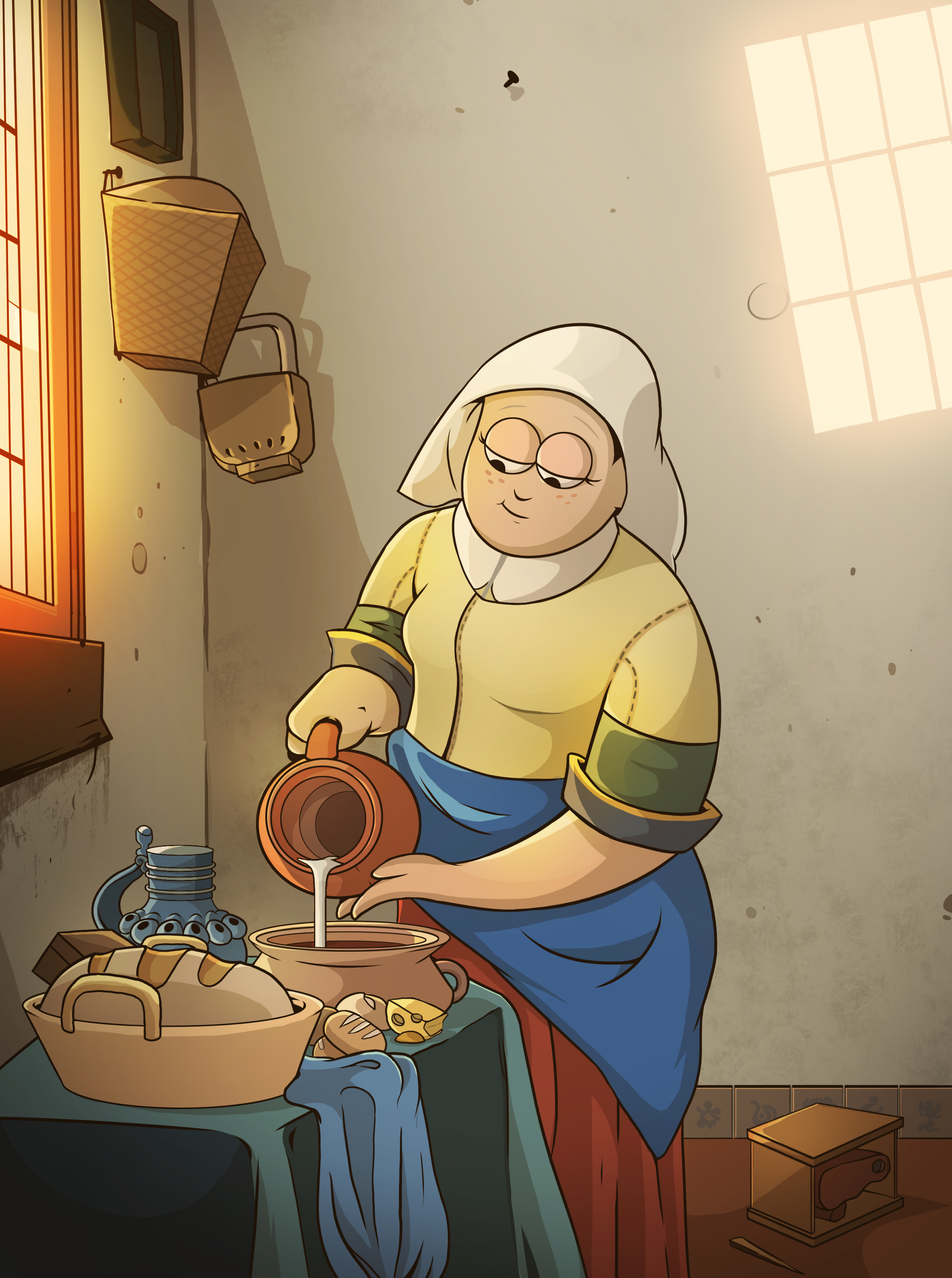 "STYLE SWAP - Johannes Vermeer's ""THE MILKMAID"" in Gravity Falls Style"