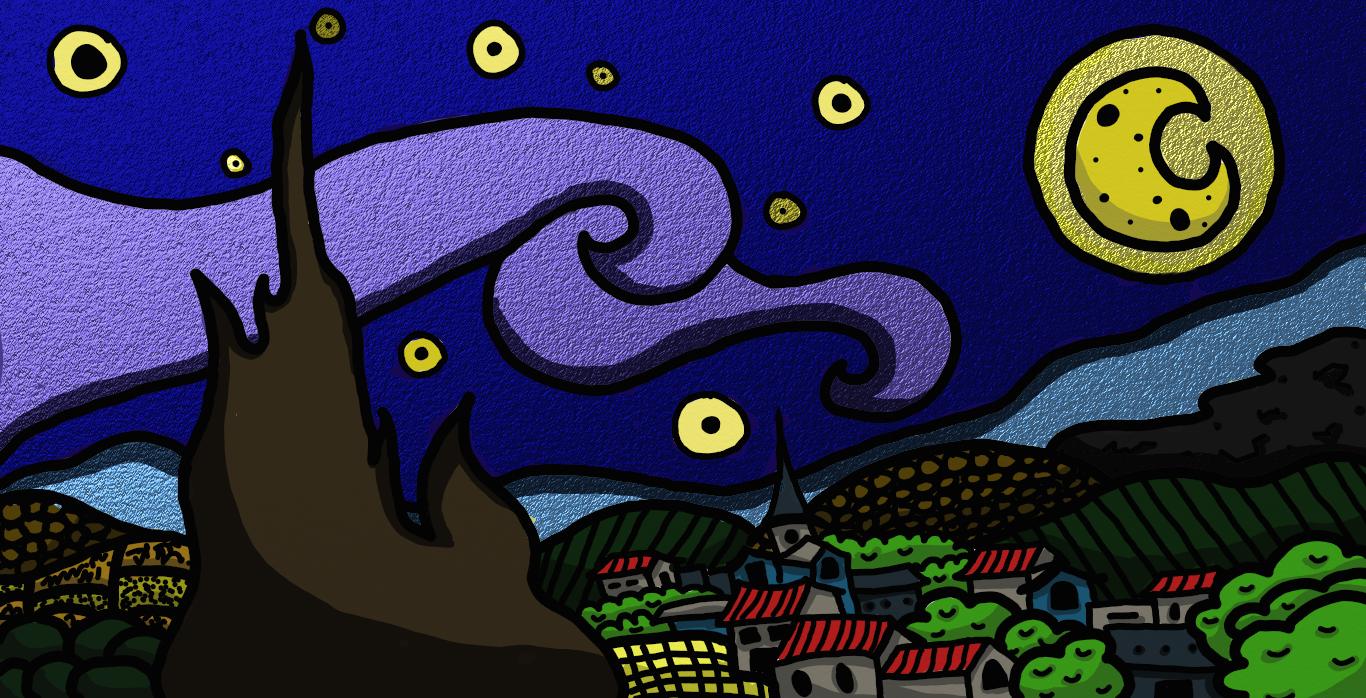 Starry Night- Van Gogh x Western Animation Style- COTM June 2017 DWJ