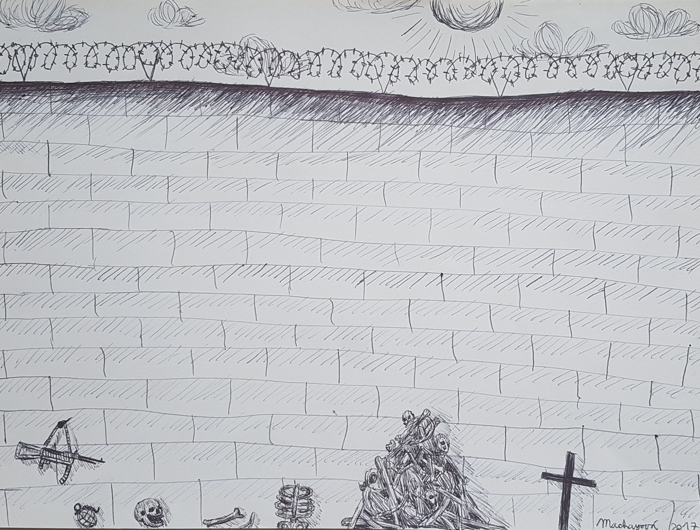 Just a quick art class sketch called 'The Wall'