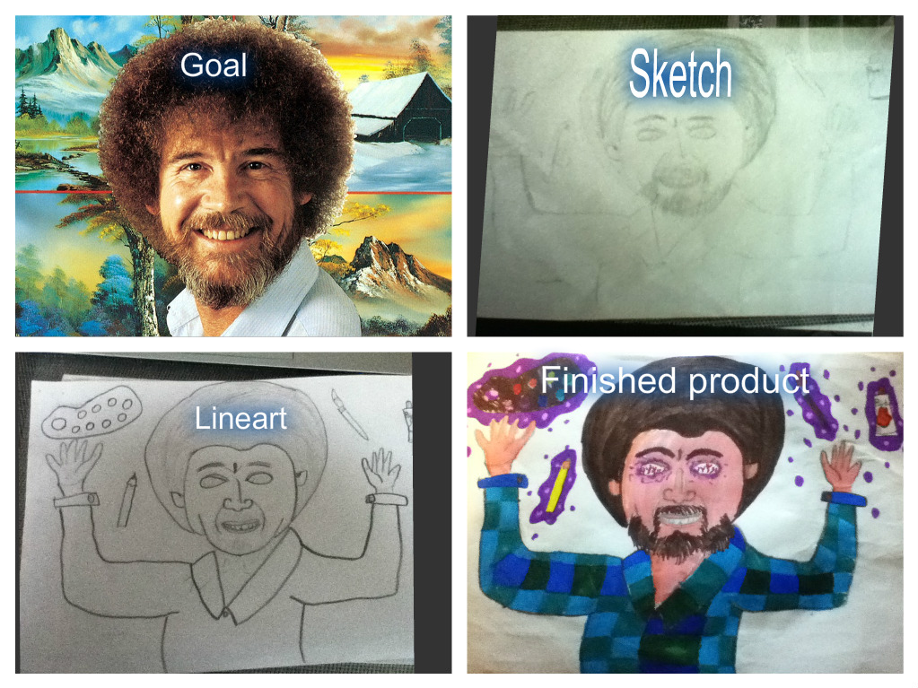 Process of creation - Bob Ross T-shirt design