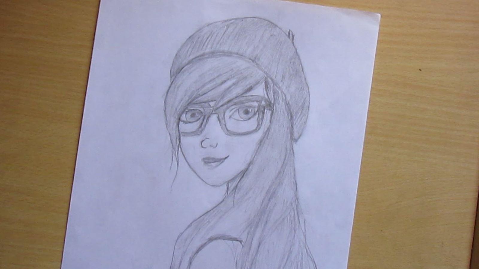 The Nerd girl Pencil sketch