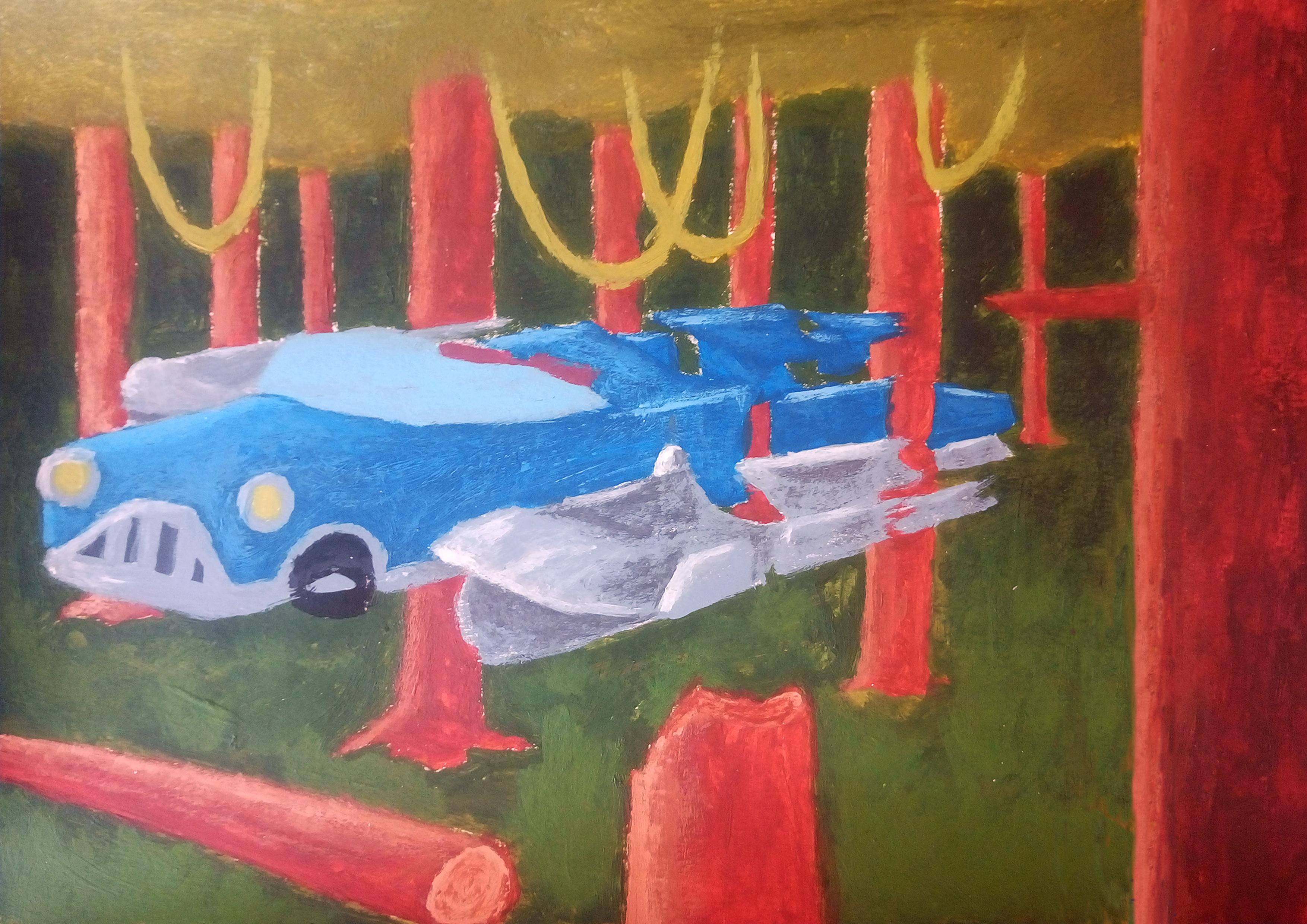 Futurism Car in Forest