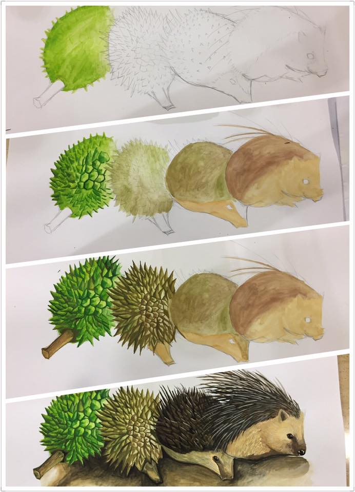 Random drawing : Durian to animal transformation
