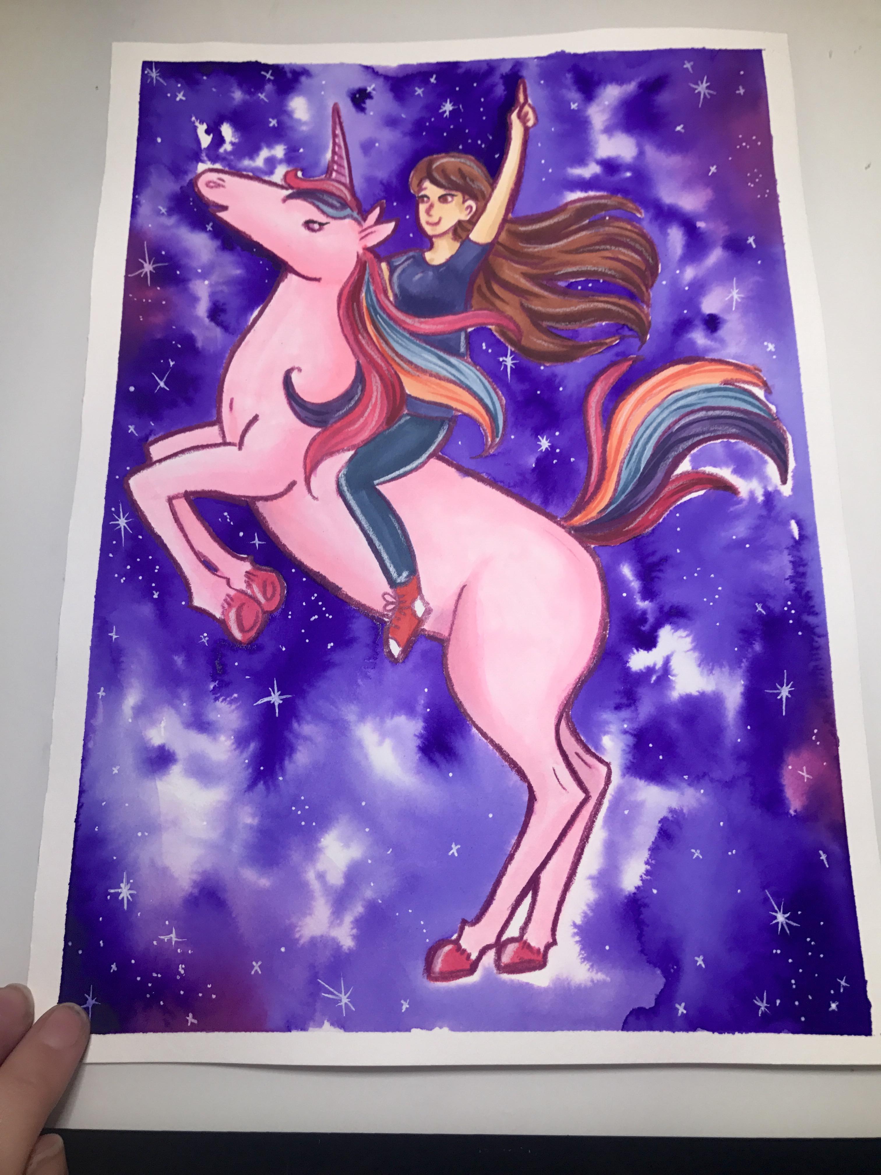 Unicorn Scribble Challenge - Mixed Media Art
