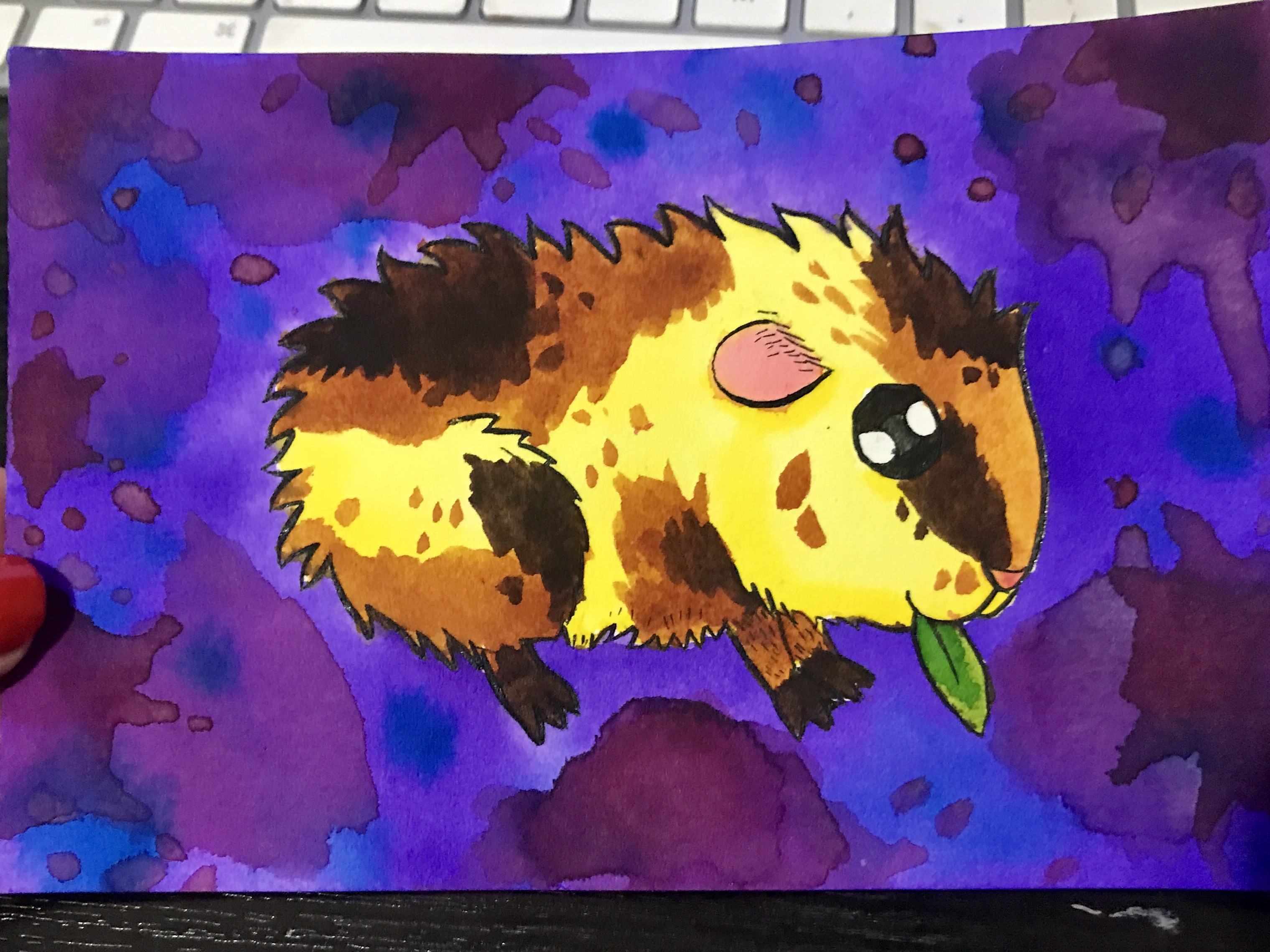 Cute guineapig watercolour painting