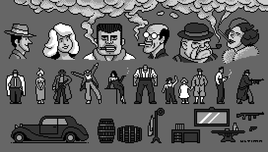 30's gangster characters and props
