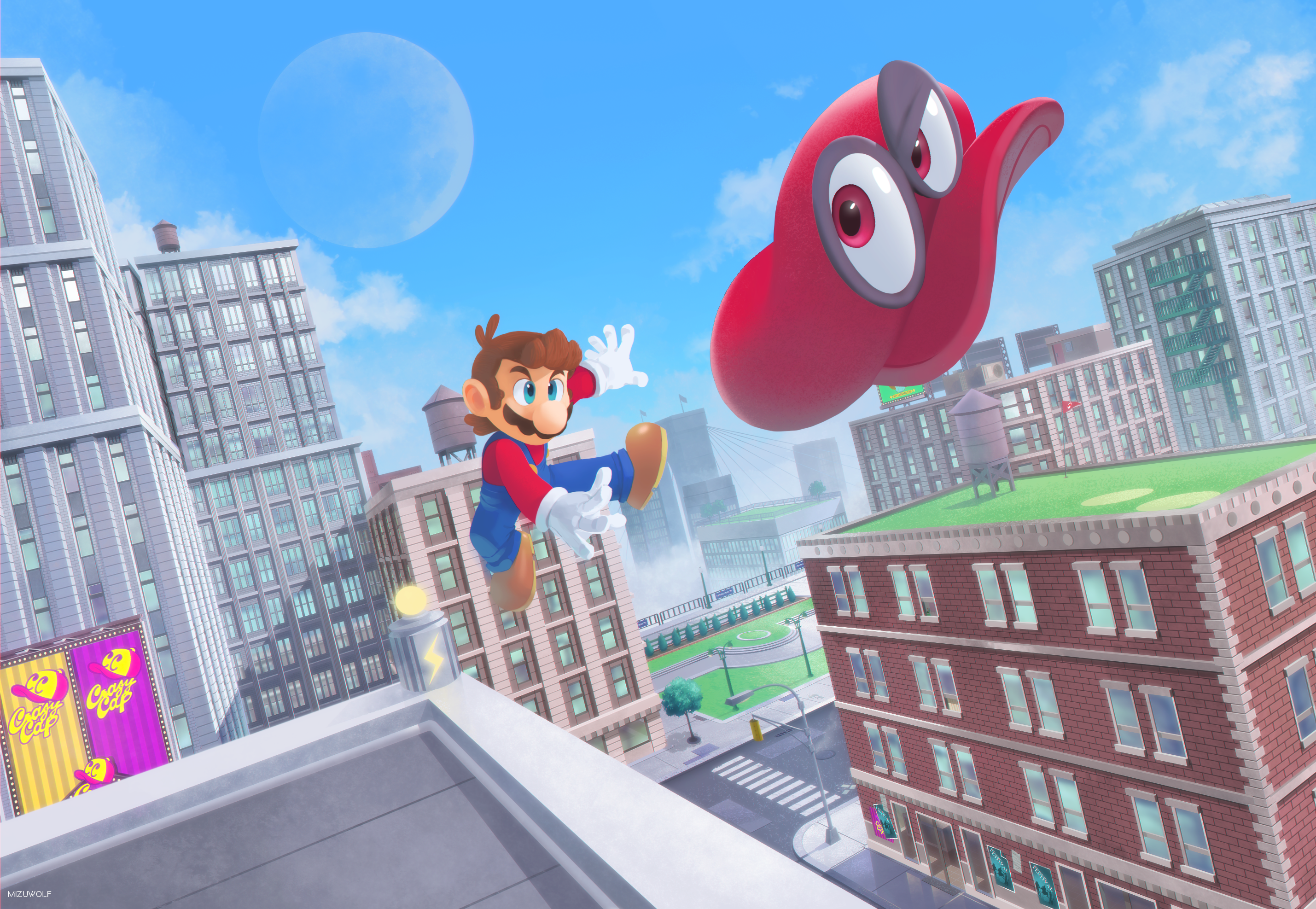 Super mario odyssey by mizu wolf on newgrounds for Super mario odyssey paintings