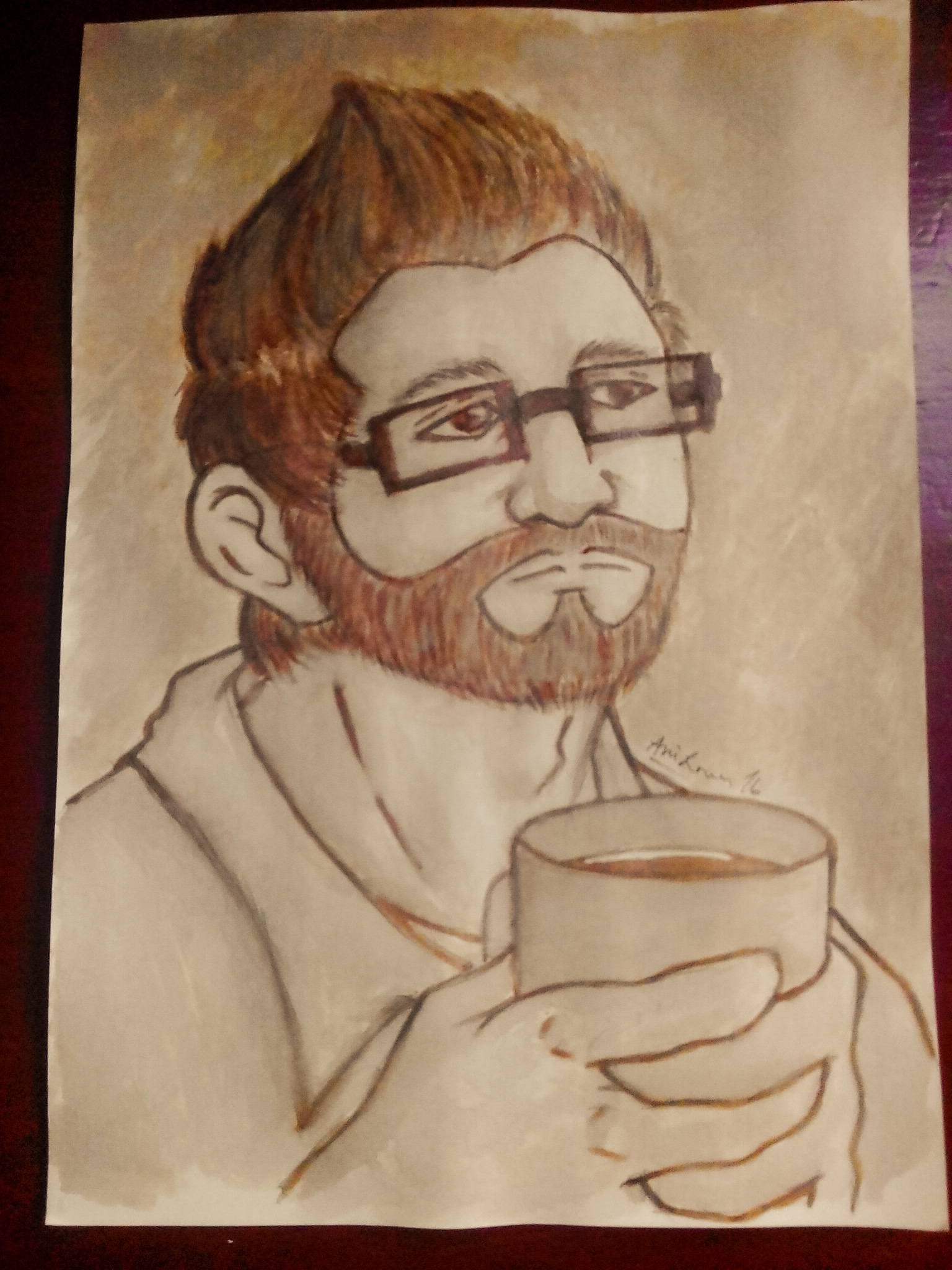 Josh with Coffee (Coffee Painting Portrait)