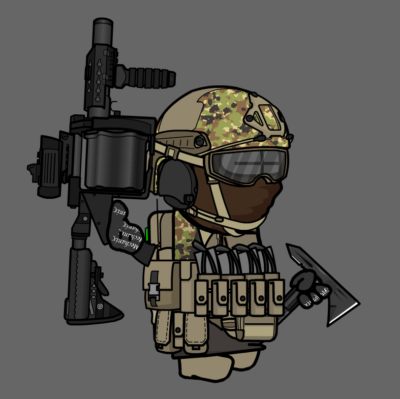 soldier with MGL grenade launcher