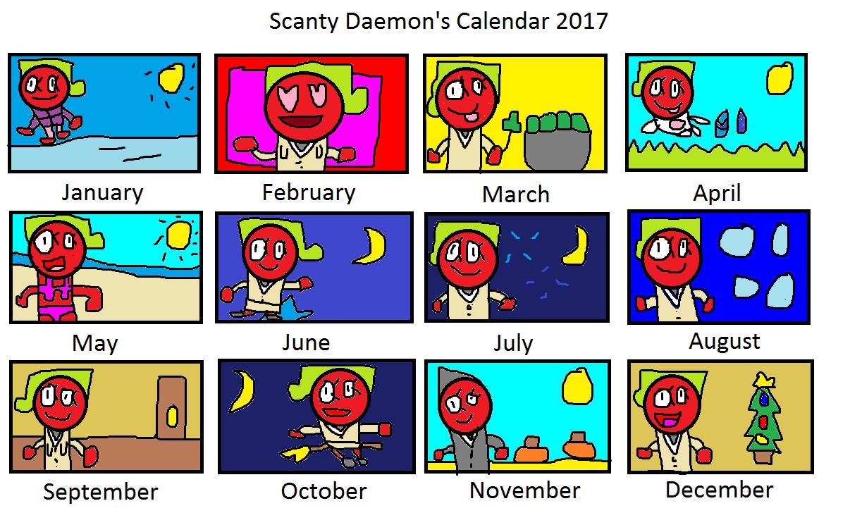 Scanty Daemon's Calendar 2017