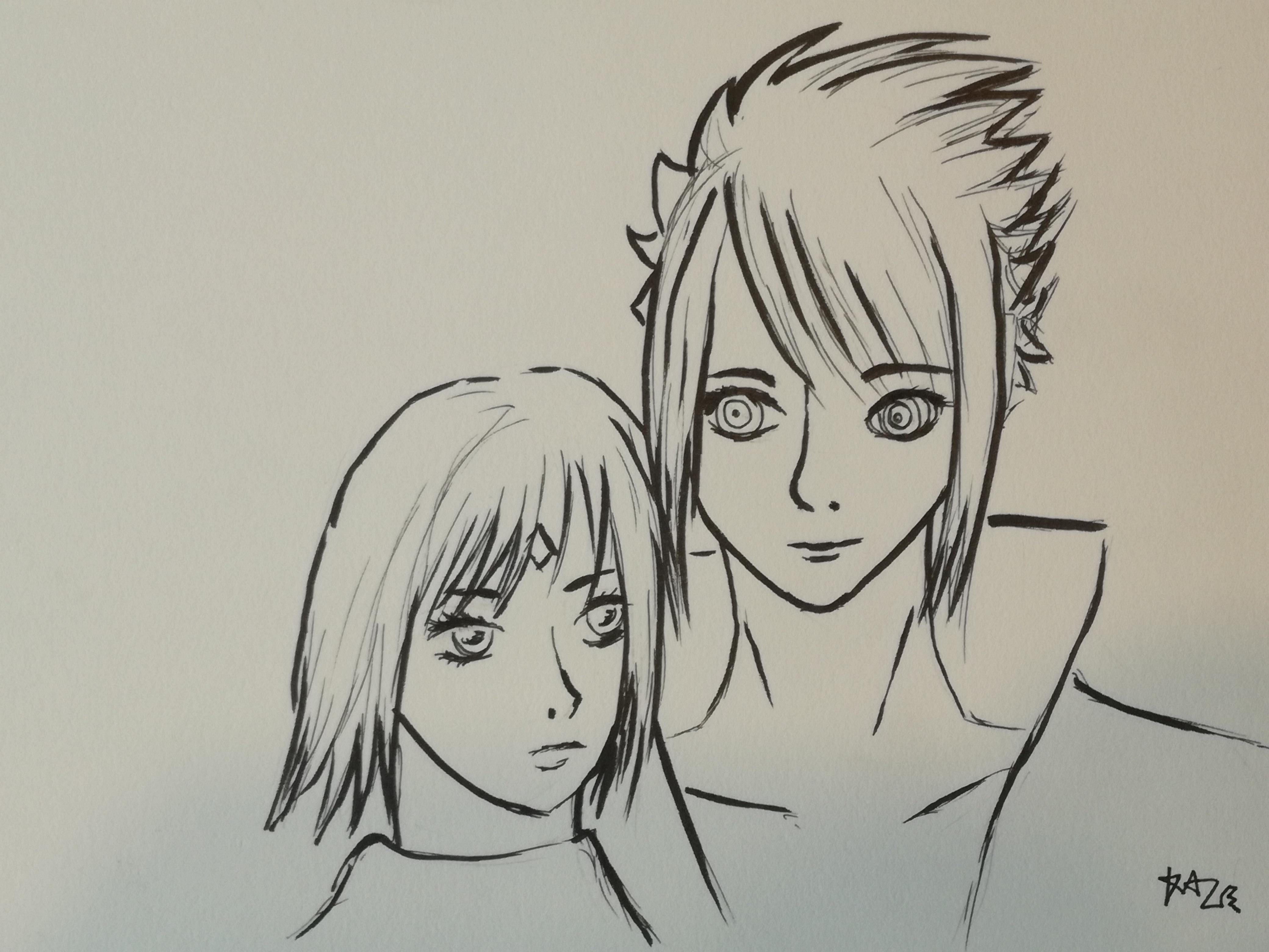 Sasuke and sakura fanart sketch