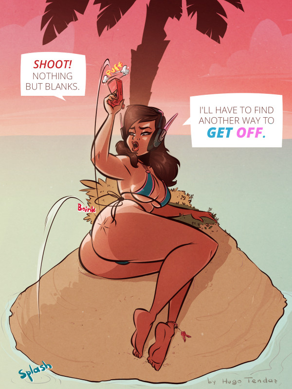 D.Va Overwatch - Getting Off - Cartoon PinUp Commission