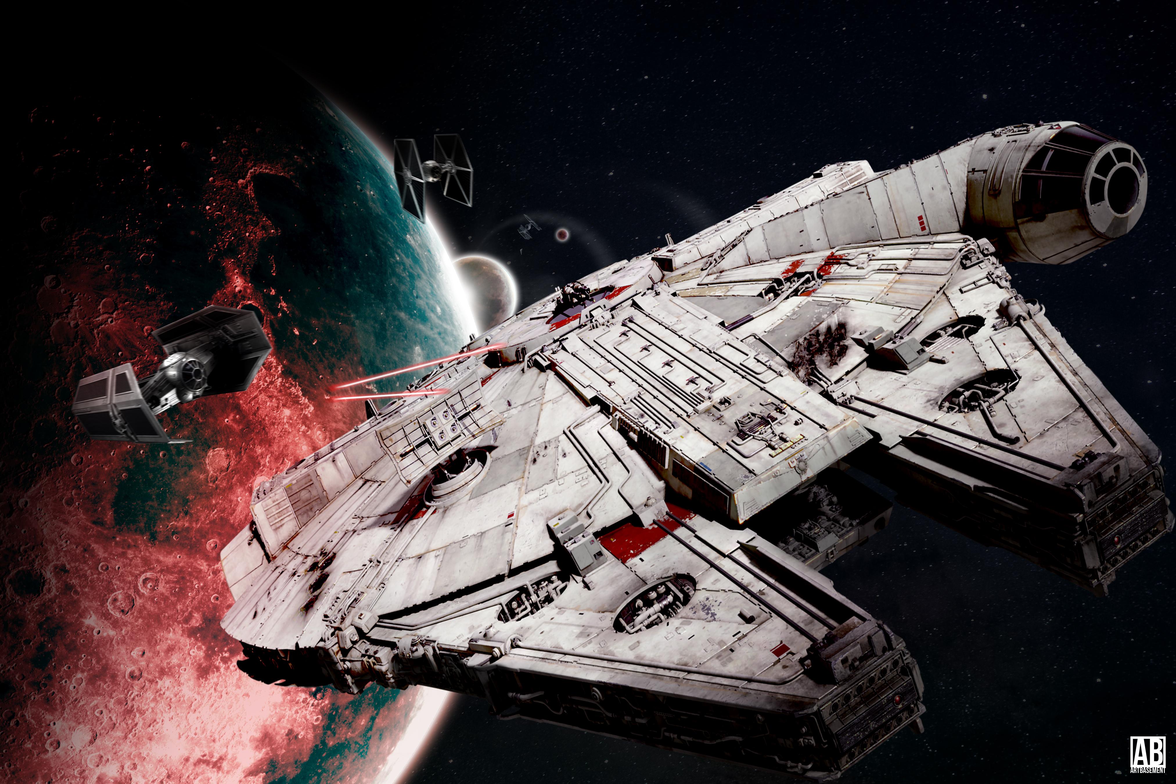 Millennium Falcon Escaping - Wallpaper