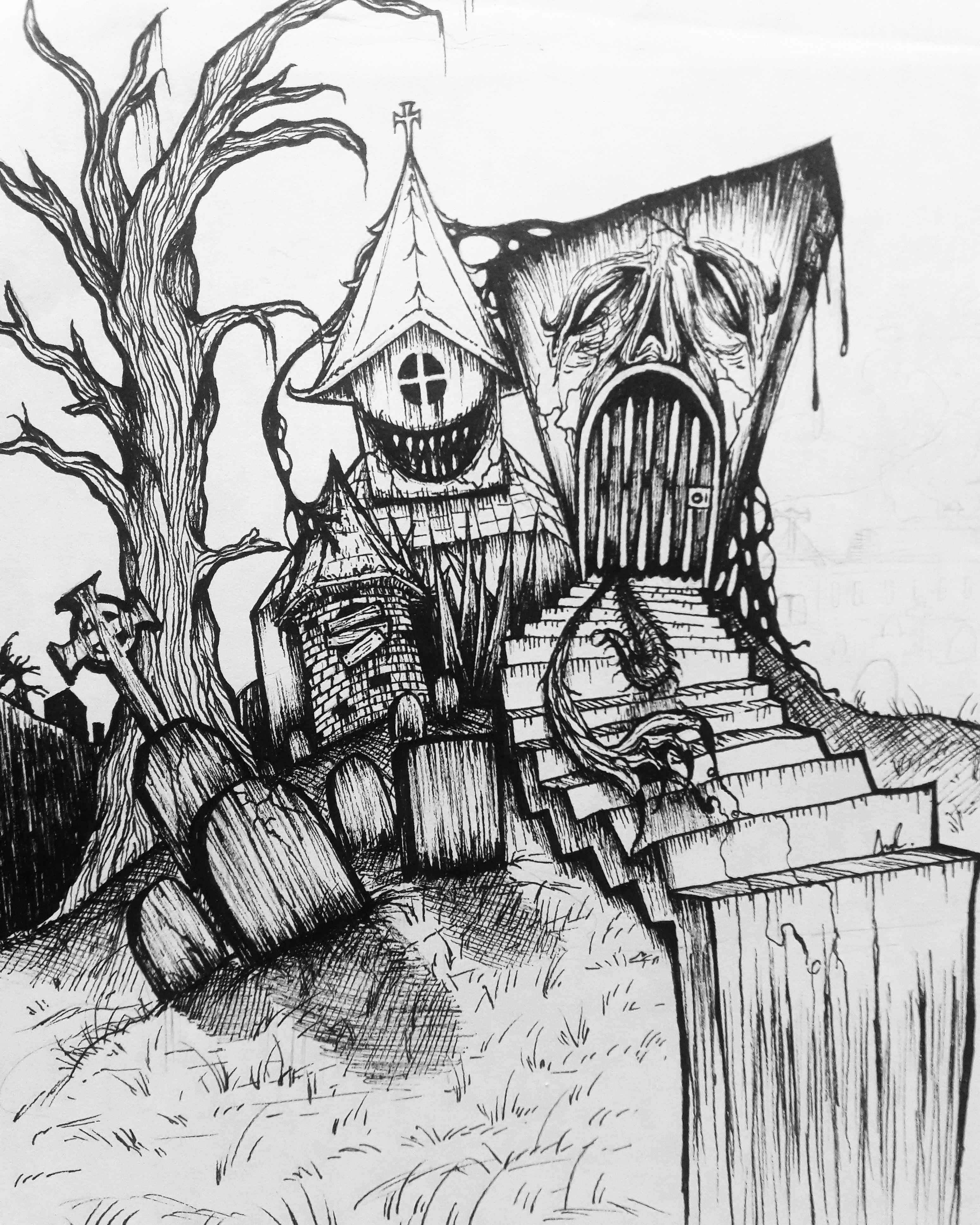 Inktober Day 2 - Spooky Cemetary