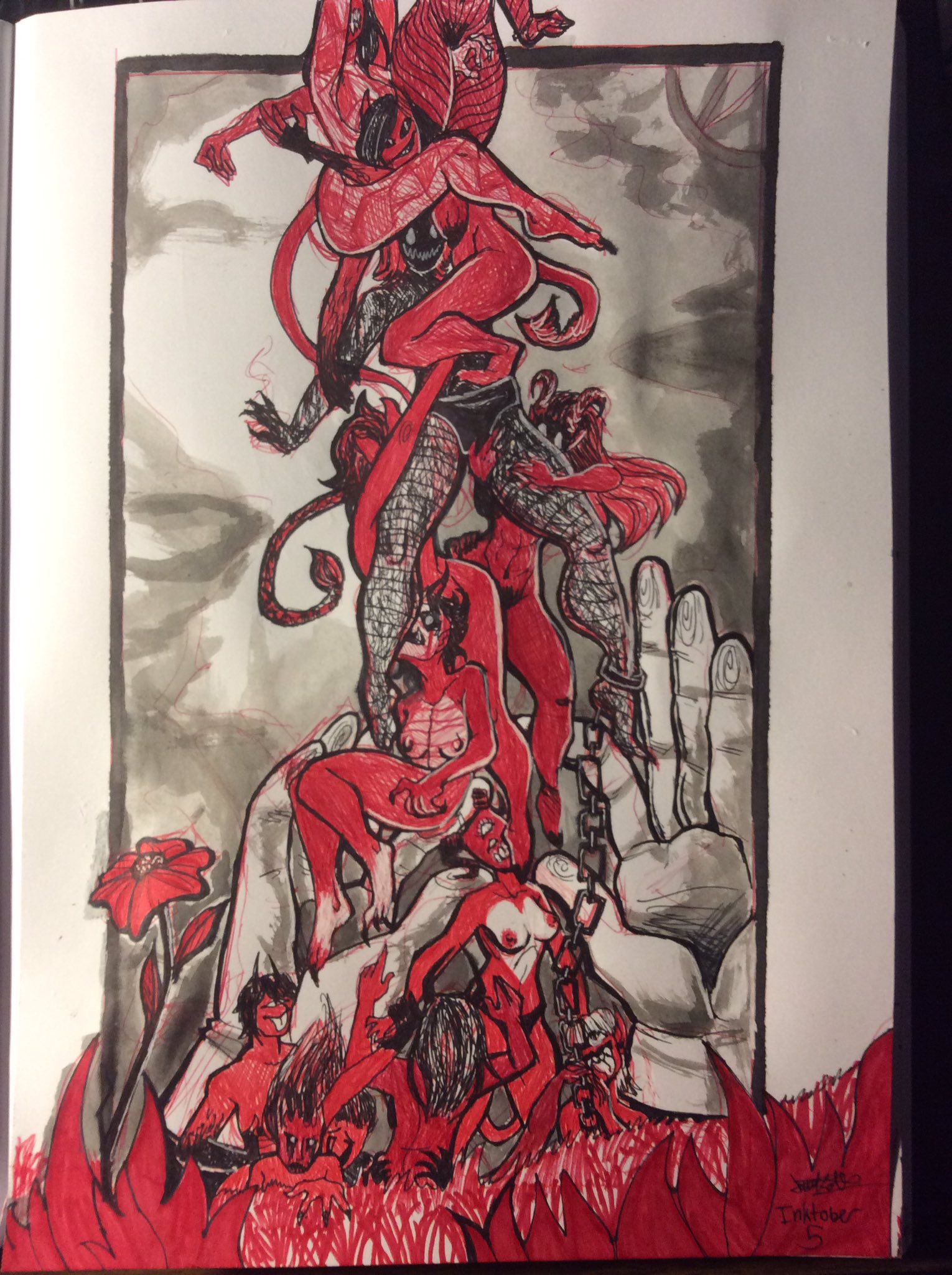 "Inktober 5 - ""Lady Demon Hell Portal I Guess"""