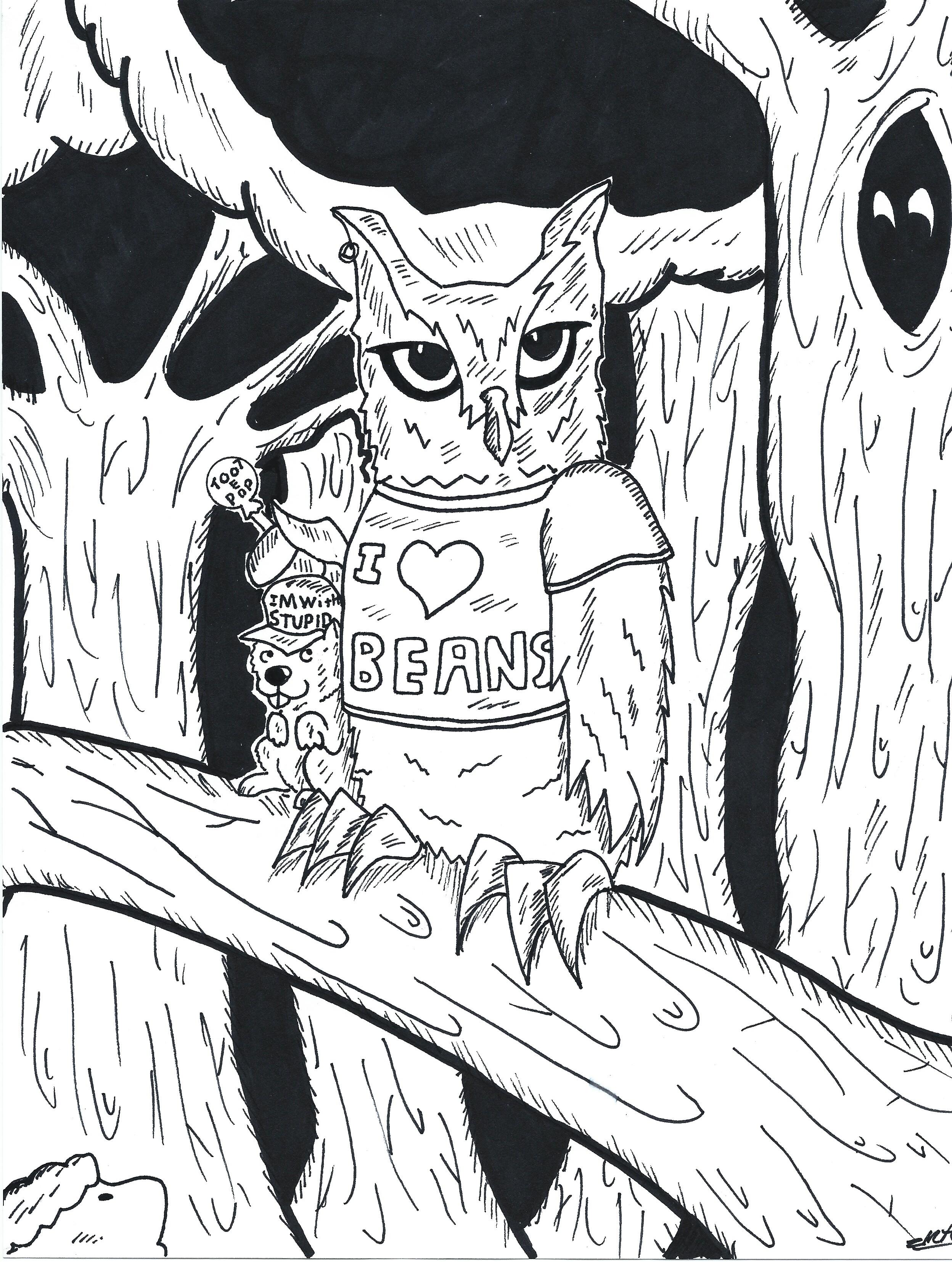 Screech owl (Inktober 2017 #9)