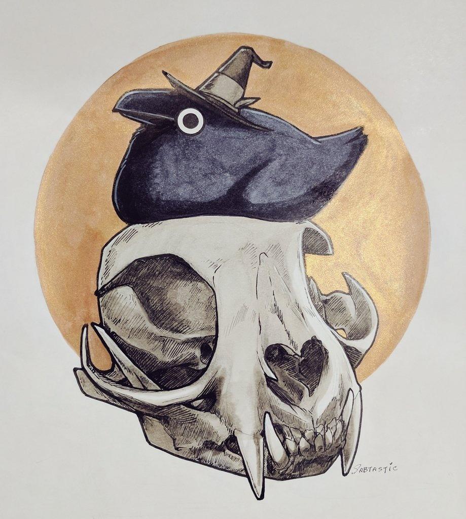 Inktober Day 8 - Bobcat Skull