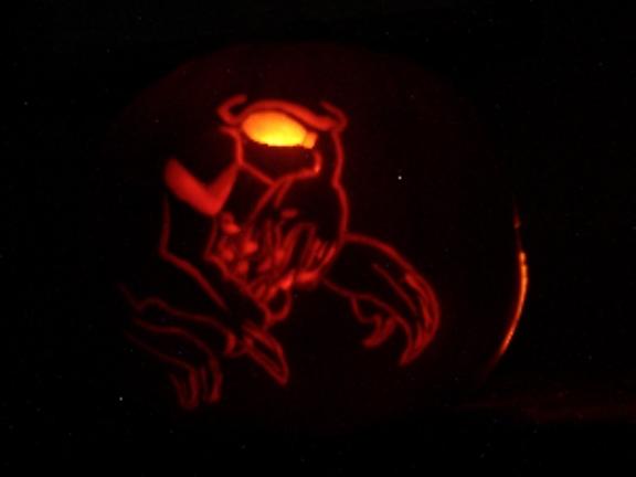 Tricky lit up pumpkin