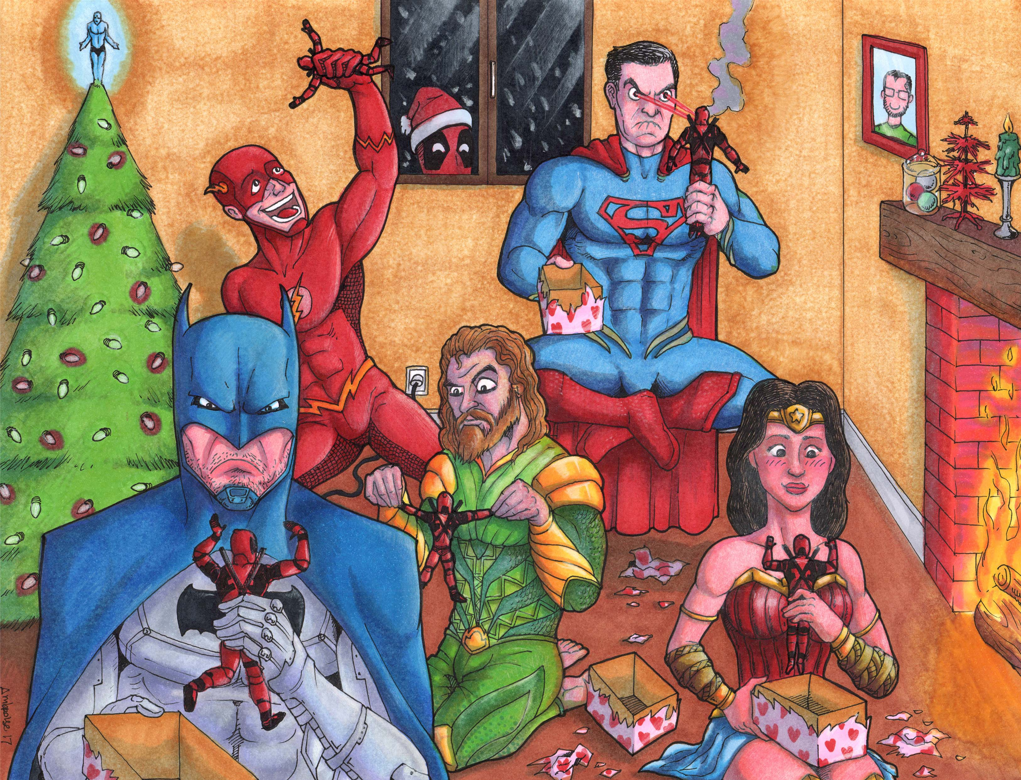 JUSTICE LEAGUE CHRISTMAS feat. DEADPOOL by TheFrenchGuyDraws on ...