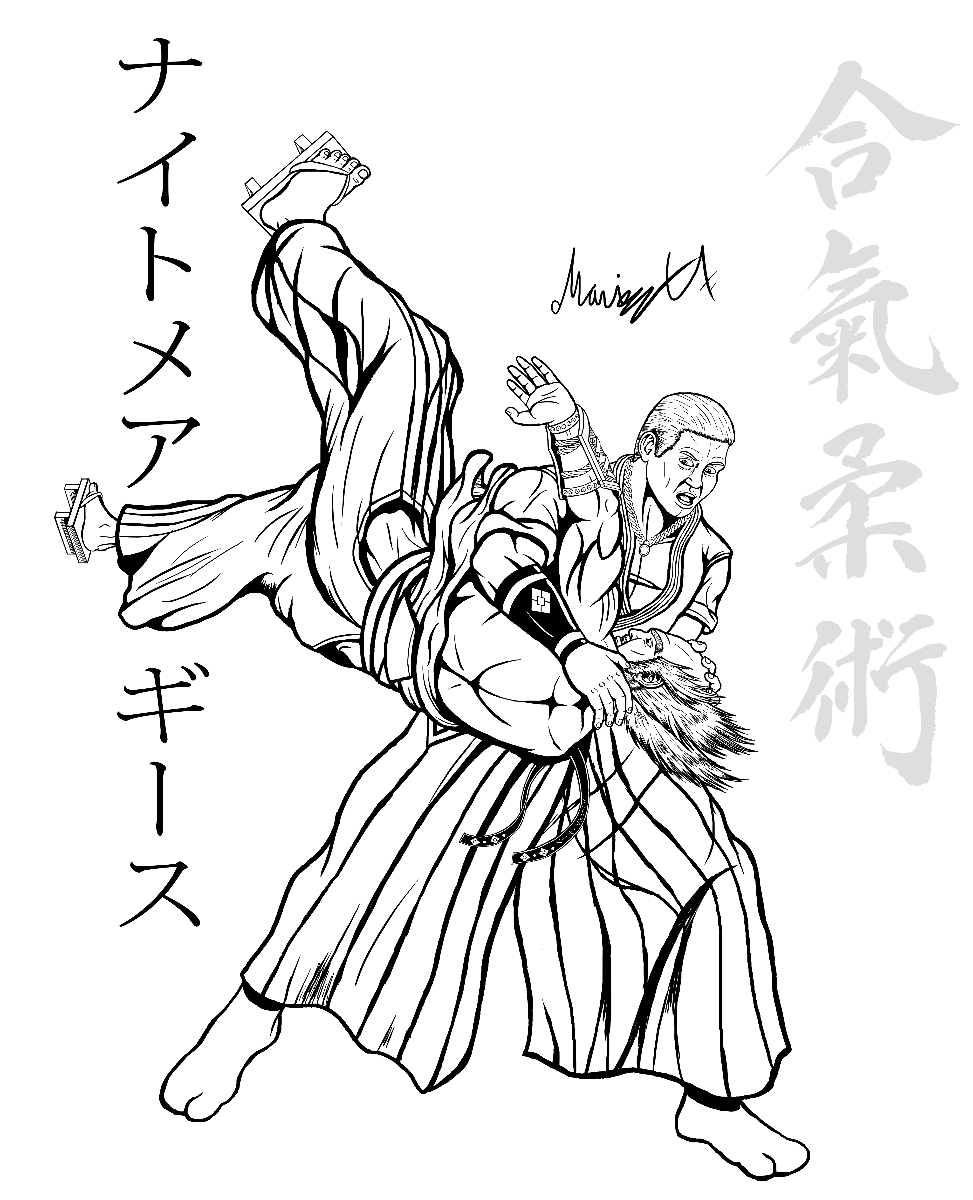 Geese Howard doing Tenchi-nage on Heihachi inked