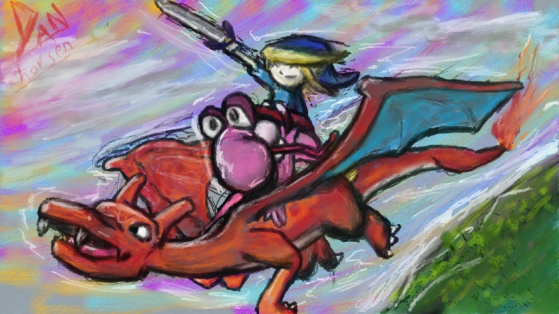Toon Blink Riding Pink Yoshi Riding Charizard Riding the Winds