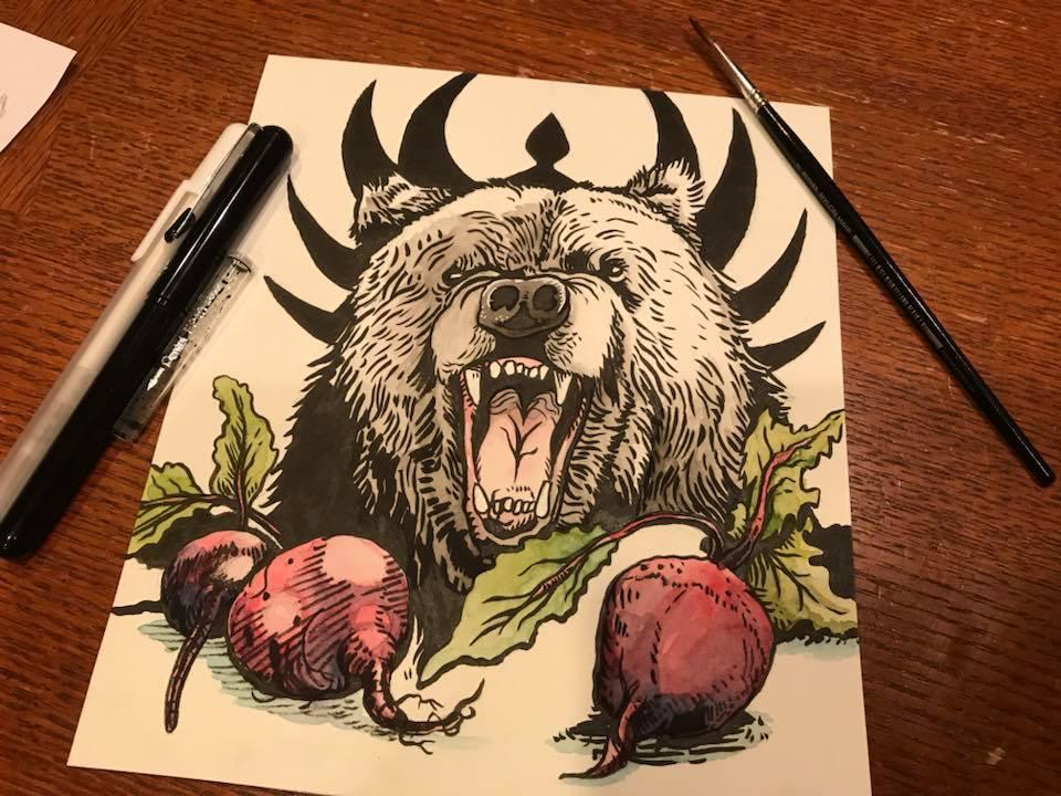 Inktober 2017 #8: Beets Bears Battlestar Galactica