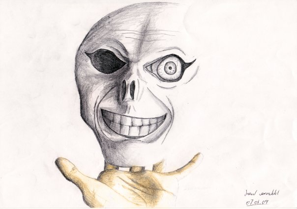 skull over a hand