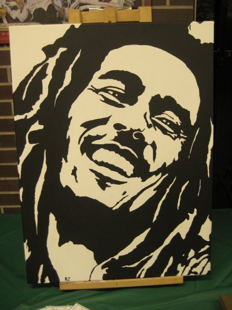 Black And White Bob Marley Painting